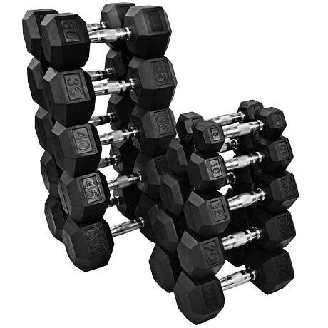 New Fray Fitness Rubber Hex Dumbbells Select-weight 10,15, 20, 25, 30, 35, 40lb