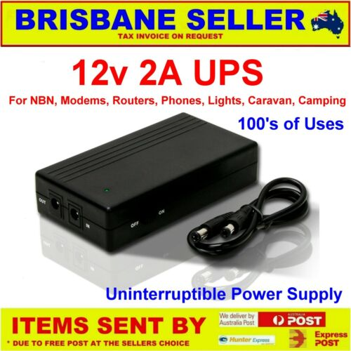 12v 2A BATTERY BACKUP for NBN PHONES MODEMS ROUTER EFTPOS LITHIUM RECHARGEABLE