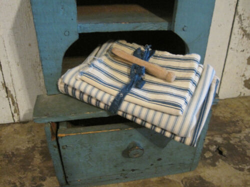 Three Pieces of Old Blue White Striped Ticking Fabric Textile Primitive American
