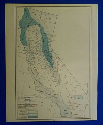 Vintage 1909 Atlas Map ~ CALIFORNIA CLIMATOLOGICAL MAP ~ Old Authentic