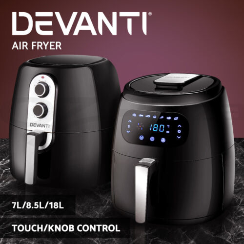 Devanti Air Fryer Electric Fryers Oil Free Healthy Cooker Kitchen Oven Airfryer <br/> ✔4/7/8/12/18L Capacity ✔LCD/ Knob Control ✔Accessories