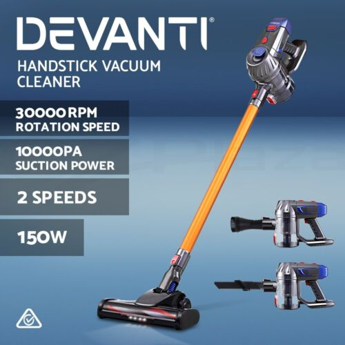 Devanti Handheld Vacuum Cleaner Cordless Stick Handstick Car Vac Bagless 2-Speed <br/> ✔10KPa Strong Suction ✔2-Speed ✔LED Headlight