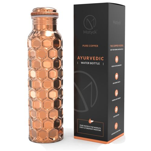 Matyck Pure Copper Handmade Water Bottle, Eco 950mls, Reduced slightly Imperfect
