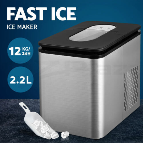 Ice Maker 12KG Portable 2.2L Ice Makers Cube Tray Bar Home Countertop Silver <br/> 9 Cubes in 8 Mins / Bullet Shape / Ice Full Indicator