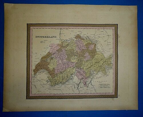 1849 S A Mitchell New Universal Atlas Map ~ SWITZERLAND ~ Old Authentic