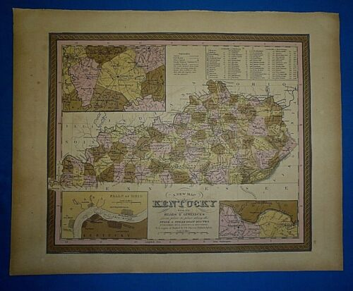 1849 S A Mitchell New Universal Atlas Map ~KENTUCKY ~ Old Antique & Authentic