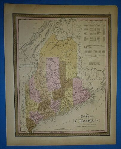 1849 S A Mitchell New Universal Atlas Map ~ MAINE ~ Old Antique & Authentic