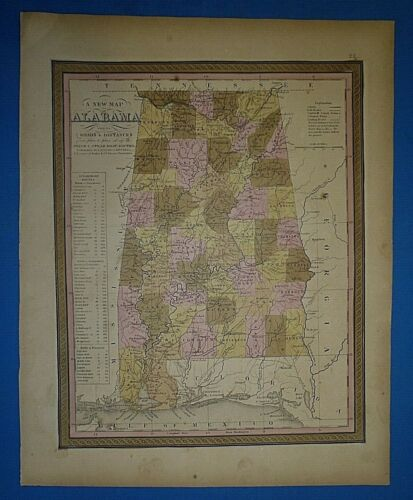 1849 S A Mitchell New Universal Atlas Map ~ ALABAMA ~ Old Antique Authentic