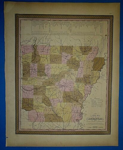 1849 S A Mitchell New Universal Atlas Map ~ ARKANSAS ~ Old Antique & Authentic