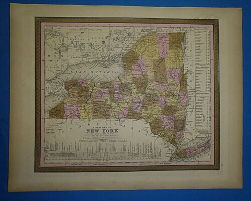 1849 S A Mitchell New Universal Atlas Map ~ NEW YORK ~ Antique & Authentic