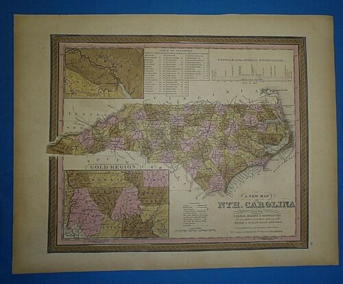 1849 S A Mitchell New Universal Atlas Map ~ NORTH CAROLINA Old Antique Authentic