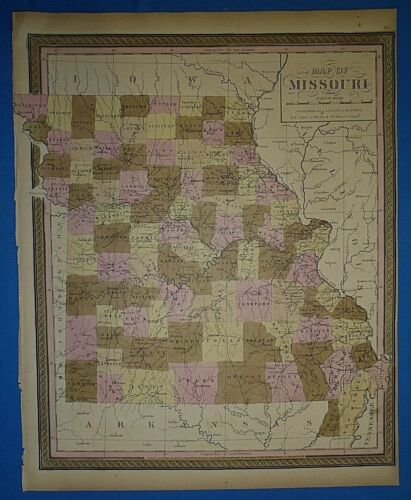 1849 S A Mitchell New Universal Atlas Map ~ MISSOURI ~ Old Antique & Authentic