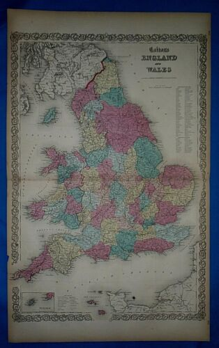 Antique 1860 Colton's Atlas Map ~ ENGLAND - WALES ~ Old & Authentic ~ Free S&H
