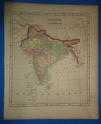 Antique 1856 Hand Colored HINDOSTAN - INDIA MAP Old Authentic Vintage Atlas Map