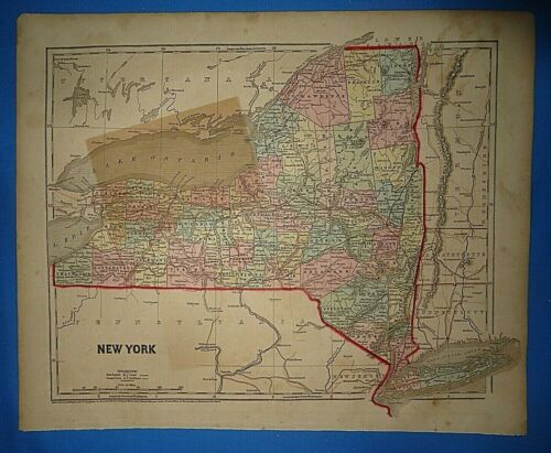Antique 1856 Hand Colored NEW YORK MAP Authentic Vintage Old Atlas Map
