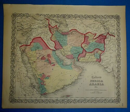 Antique 1860 Colton's Atlas Map ~ PERSIA - ARABIA - AFGHANISTAN ~ Authentic