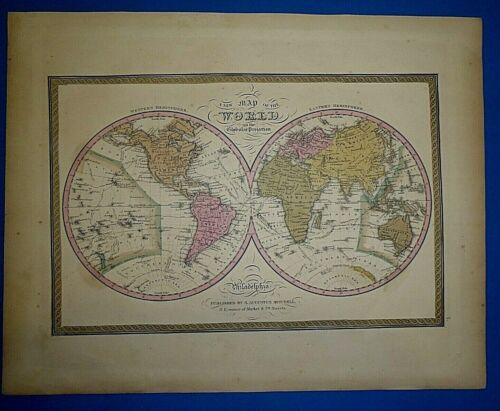 1849 S A Mitchell New Universal Atlas Map of the WORLD in GLOBULAR PROJECTION