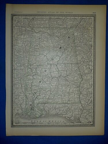 Vintage 1886 Atlas Map ~ ALABAMA ~ Old & Authentic ~ Free S&H