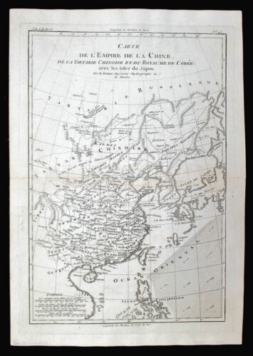 1780 CHINA AND ENVIRONS ORIGINAL ENGRAVED ANTIQUE MAP BY R. BONNE