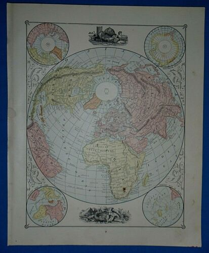 Vintage 1883 Atlas Map ~ LAND HEMISPHERE of the WORLD ~ Old & Authentic Free S&H