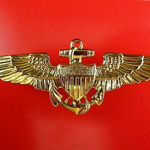 GENUINE US NAVY OFFICER PILOTS AVIATOR WINGS TOP GUN MADE BY VANGUARD USA1961 - 1975 (Vietnam) - 36060