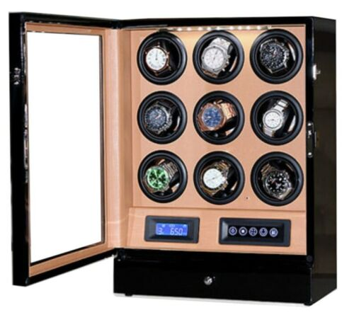 Watch Winder LUX 9 relojes. Brown LCD LED