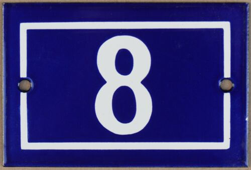 Old blue French house number 8 door gate wall plate plaque enamel sign 1970 NOS