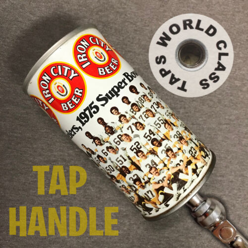 vintage 1975 SUPER BOWL Pittsburgh Steelers Can IRON CITY BEER Tap Handle marker