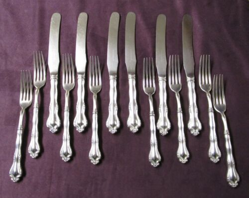 FANEUIL 6 Knives 8 Forks Hollow Handles 1908 Art Nouveau Silverplate No Monogram