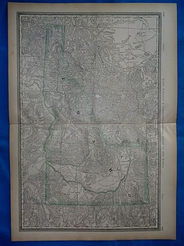 Vintage 1882 Atlas Map ~ TERRITORY of IDAHO ~ Old & Authentic ~ Free S&H