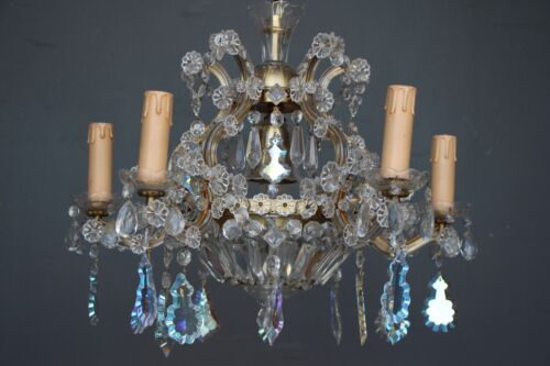 Antique Louis XV chandelier 5 gilt scroll arms cut glass crystal vintage 1930's
