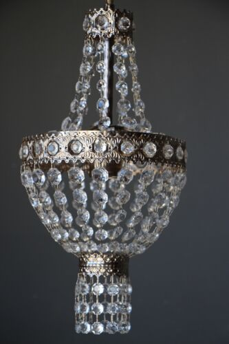 Antique French Louis style crystal basket chandelier ornate Vintage 1960's