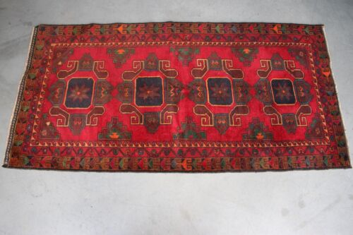 Semi antique balouchi wool rug hand knotted carpet geometric medallions on red