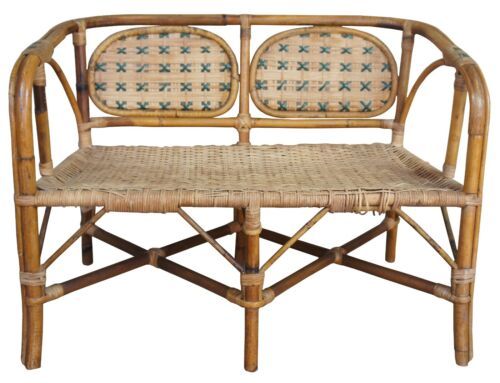 Italian Antique Child's Rattan Caned Bamboo Settee Cafe Bench Loveseat Bentwood