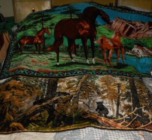 Vintage Lot 2 Large Tapestry Wall Rug Bears Forest Italy & Horses Farm Turkey