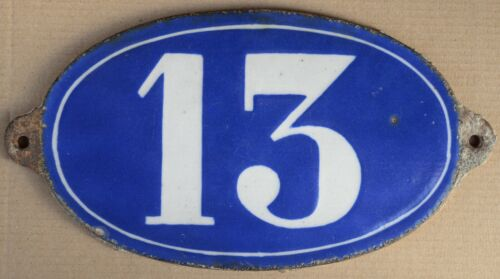 Antique C19th French house number 13 door gate plate plaque enamel on cast iron