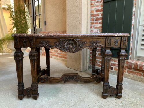 Antique French Carved Oak Hall Center Table a Gibier Marble Top Louis XIV 19th c