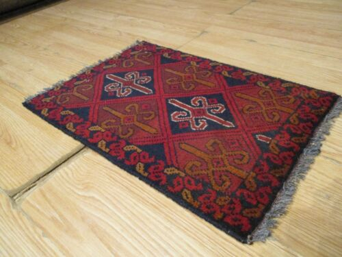 1x2 Super Tribal Geometric Natural Vegetable Dye Hand-knotted Wool Rug 64