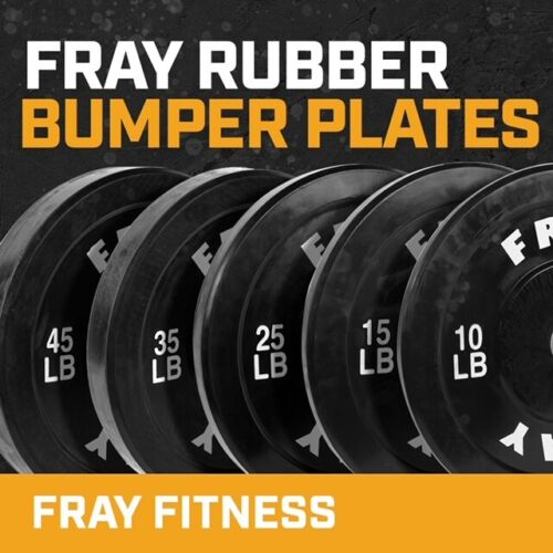 Fray Fitness Olympic Rubber Bumper Weight Plates Plate 10/15/25/35/45 lbs <br/> THESE ARE SOLD IN PAIRS, FAST FREE SHIPPING