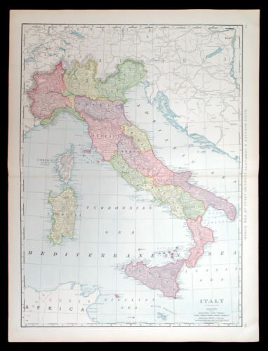 1898 ITALY, RAND MCNALLY LARGE ANTIQUE DETAILED MAP