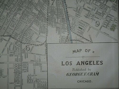 Vintage 1908 Atlas Map ~ LOS ANGELES, CALIFORNIA ~ Old & Authentic ~ Free S&H