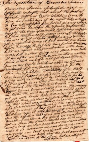 1779, Nantucket, Mass; sailor shipwrecked, put on prison boat, oath signedOriginal Period Items - 10951