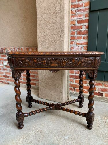 Antique French TABLE BARLEY TWIST Carved Oak Center Hall Sofa Renaissance