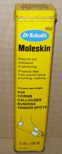 Vintage 1971 Dr. Scholl's Moleskin Corn Callouses Adhesive Tin Container