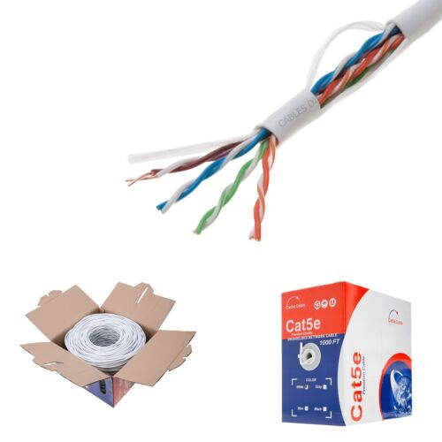 Cat5e 1000ft White Network Cable, Solid 24AWG COPPER CLAD Ethernet Bulk Wire