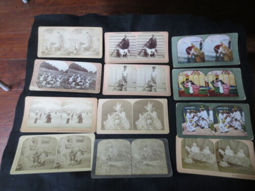 Lot of 12 Stereoscopic Cards Color, Dog Show, People, Silly Scenes, Children SC1