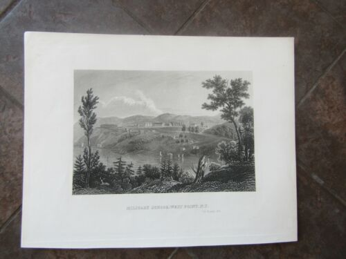 1834 ORIGINAL View of West Point, New York, Military School