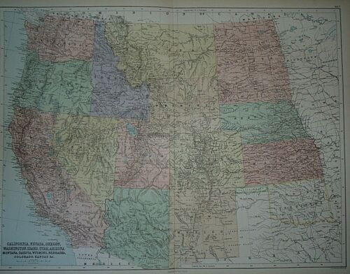 Rare Vintage 1884 Map ~ UNITED STATES - WESTERN TERRITORIES - TEXAS ~ Authentic