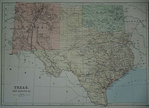 Rare Vintage 1884 Atlas Map ~ TEXAS - NEW MEXICO & INDIAN TERRITORY ~ Authentic
