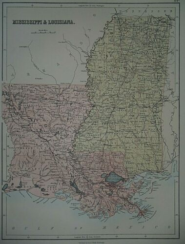 Rare Vintage 1884 Atlas Map ~ MISSISSIPPI - LOUISIANA ~ Old & Authentic